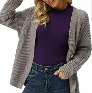 GRACE KARIN Women's Open Front Cable Knit Cardigan